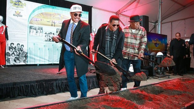 Marlon, Jackie, and Tito Jackson at the ground breaking