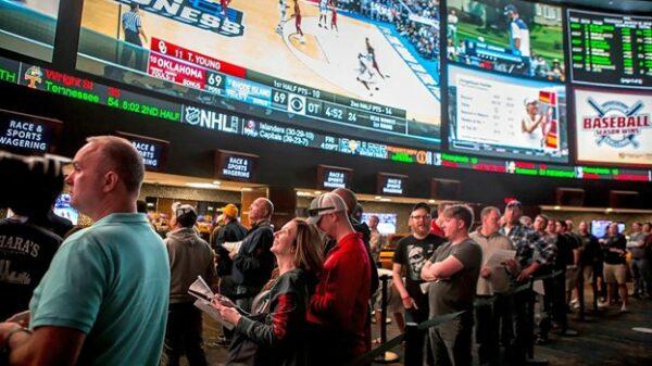 People watching sports on big screens